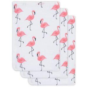 Jollein: Hydrofiel washandje Flamingo ( 3 stuks)