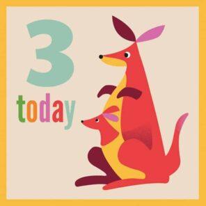 Verjaardagskaart 3 jaar: Kangoeroe