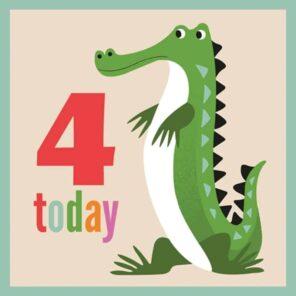 REX:Verjaardagskaart 4 jaar: Krokodil