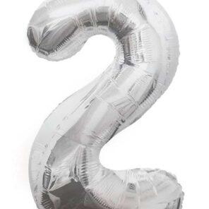 Cijferballon zilver XL nummer 2