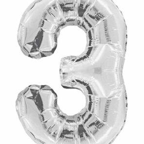 Cijferballon zilver XL nummer 3