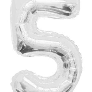 Cijferballon zilver XL nummer 5
