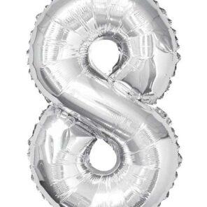 Cijferballon zilver XL nummer 8