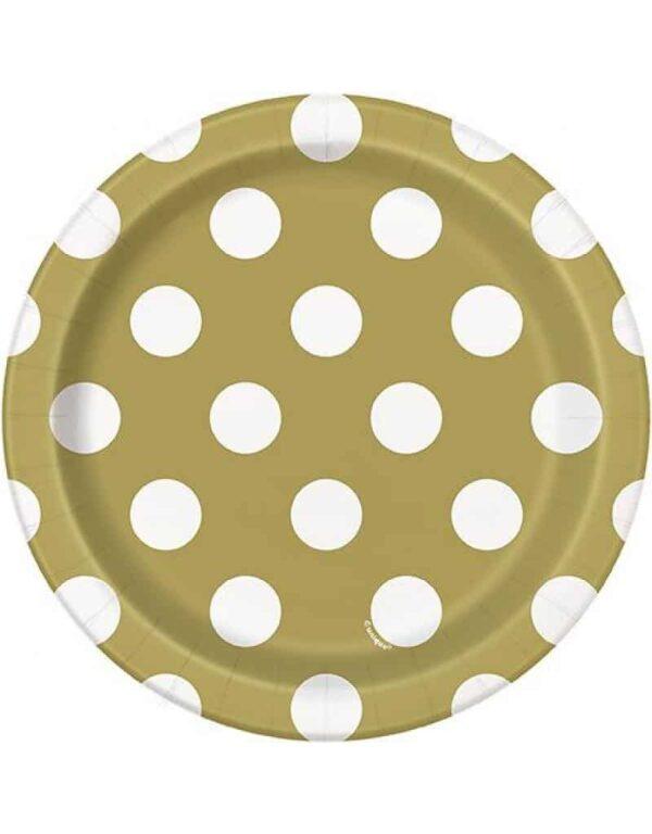 Borden goud met witte stip 18 cm