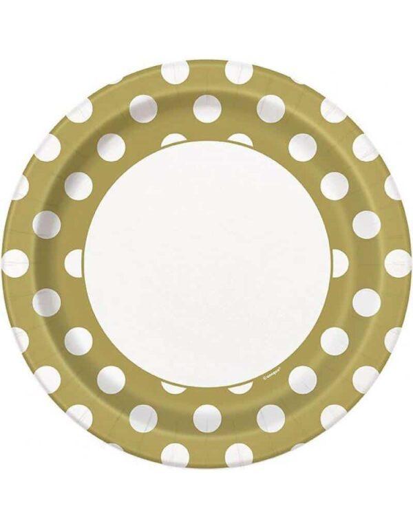 Borden goud met witte stip 23 cm