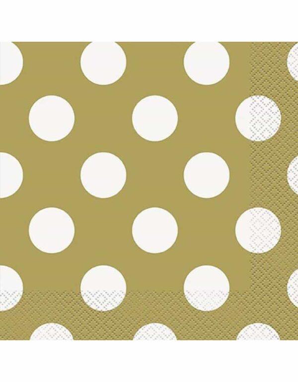 Papieren servietten goud met witte stip