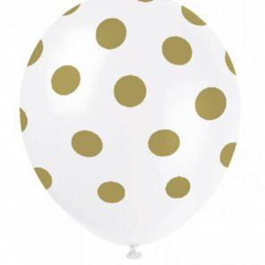 Ballon wit met gouden stip