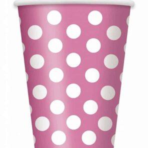 Papieren bekers roze met witte stip