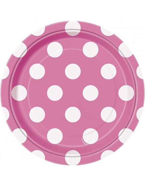 Borden roze met witte stip 18 cm