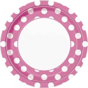 Borden roze met witte stip 23 cm