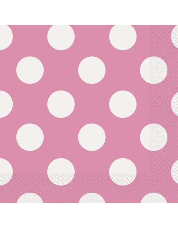 Papieren servietten roze met witte stip