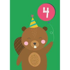 Verjaardagskaart 4 Bever