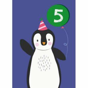 Verjaardagskaart 5 Pinguin