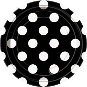 Borden zwart met witte stip 18 cm