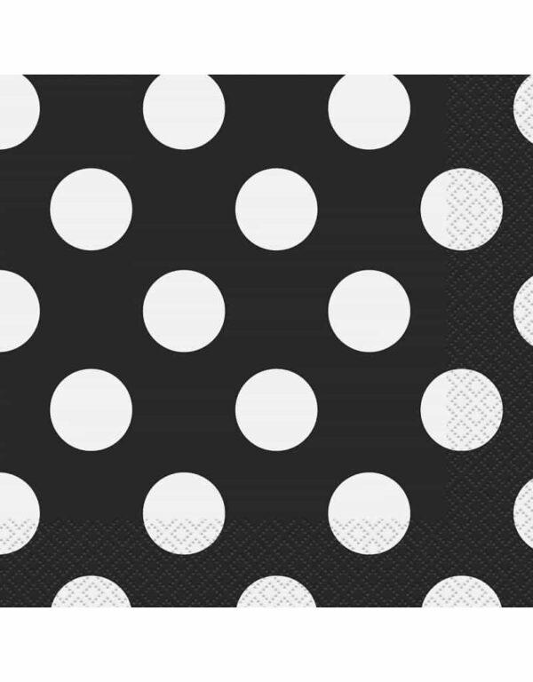 Papieren servietten zwart met witte stip